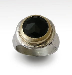 Cocktail Ring, Silver Gold Ring, Rose Cut Onyx Ring, Hammered Ring, Onyx Gemstone Ring, Black Stone Ring, Statement Ring - Dark R1414C