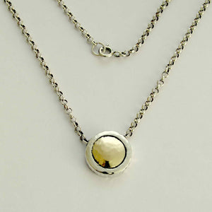 Sterling silver necklace, silver and gold necklace, necklace with pendant, gold pendant, mixed metal round pendant - Never leave N8815C