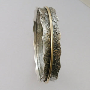 Spinner Bangle, Sterling Silver Bangle, Botanical Bangle, gold Spinner, Silver GoldFilled Ring, Leaves Band - Nothing else matters B6722