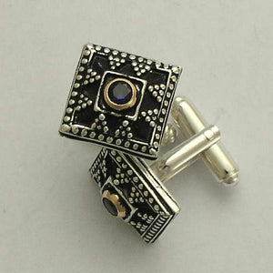 Two tone Men's cuff links, silver gold cuff links, unique cuff links, square cuff links, sapphire corundum cuff links - Royal Blue C0293X