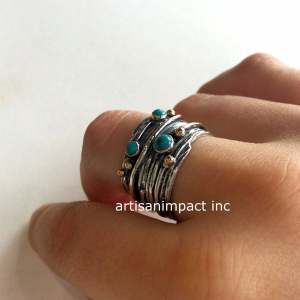 Unique gypsy silver ring