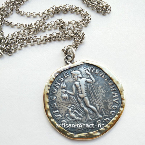 Coin necklace, coin pendant, silver gold coin, sterling silver coin pendant, long chain, coin jewelry, oxidized coin - Retrovision N2004