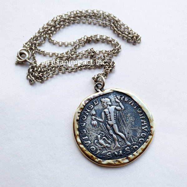 silver gold coin necklace