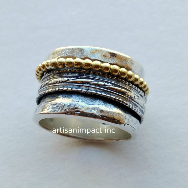 Sterling silver ring, silver gold band, wedding band, wide oxidized ring, mixed metal ring, wide band, spinners ring - Majestic life R2075