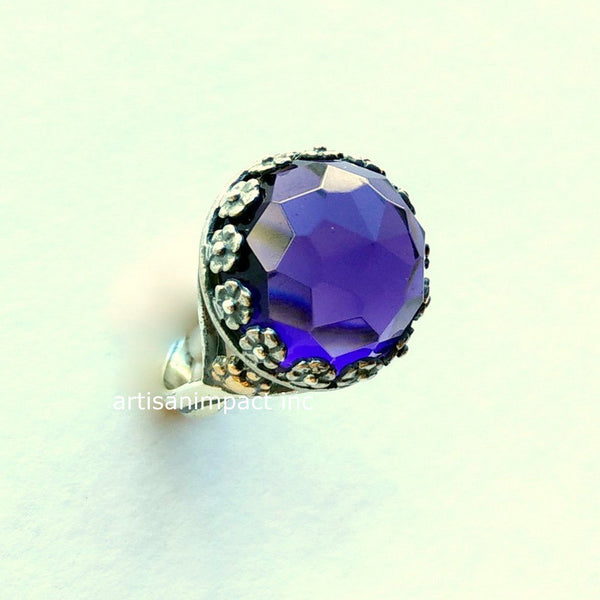 Amethyst ring, Silver ring, bohemian jewelry, gemstone ring, twotone ring, high stone ring, flower ring, gold silver ring - Imagine us R2108