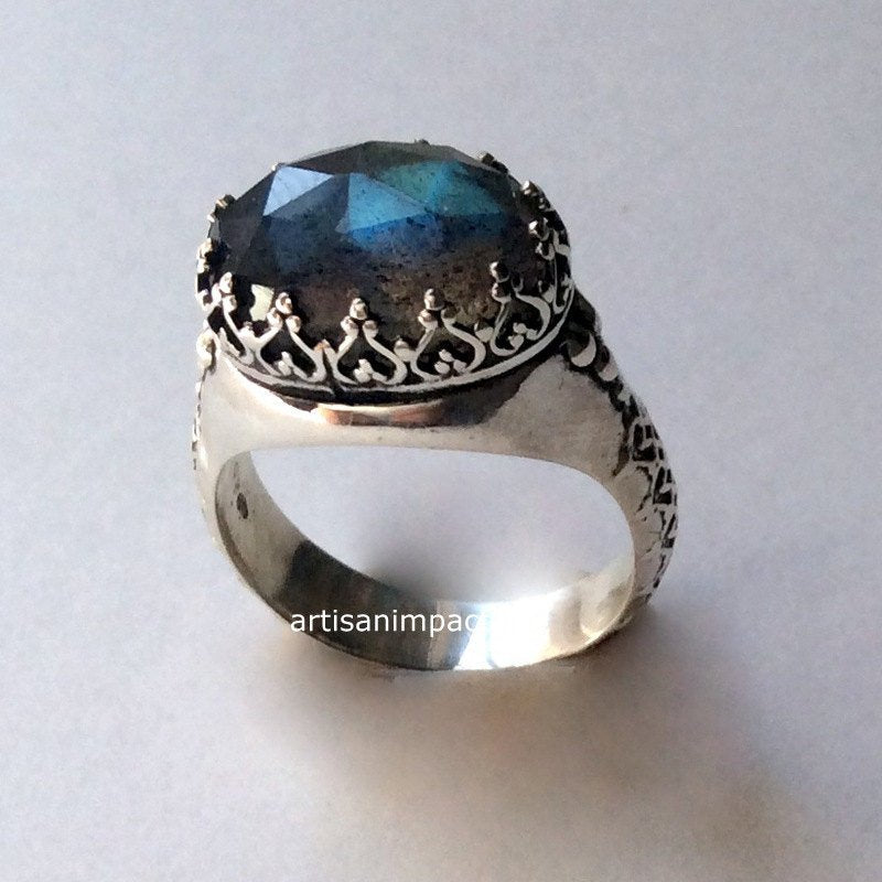 Silver engagement Ring, stone ring, Labradorite Ring, gypsy Ring, princess crown Ring, boho ring, hippie ring, antique - I believe. R2052 -1