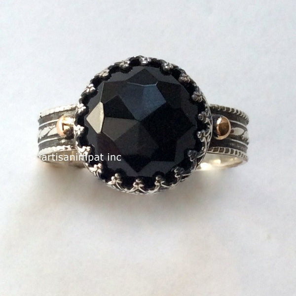 textured Onyx gemstone Black ring