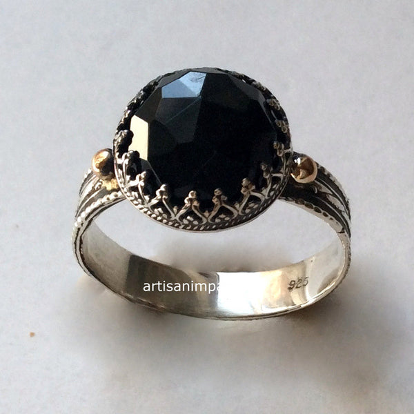 Silver gold Onyx gemstone ring