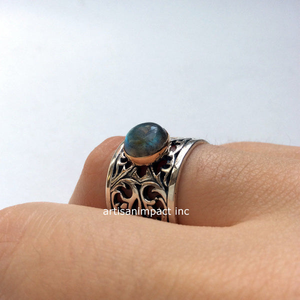 Gemstone ring, engagement ring, wide band, boho ring, silver gold ring, Labradorite ring, stone ring, ornate ring - Let it go  R2057-1