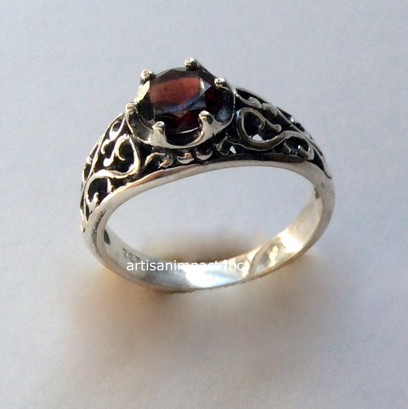 Silver ring, bohemian jewelry, garnet ring, filigree ring, gemstone ring, January birthstone ring, engagement ring -  You're beautiful R2115