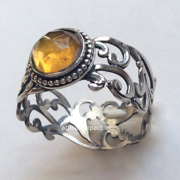 citrine silver ornate ring