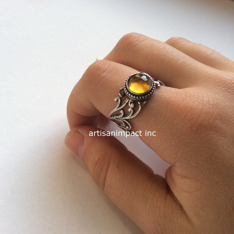 silver stone ring Close to me R2117 birthstone ring stone ring statement ring Citrine Cocktail ring Sterling silver ring wide ring