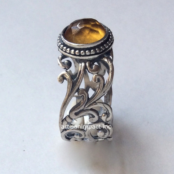 Boho yellow stone ring
