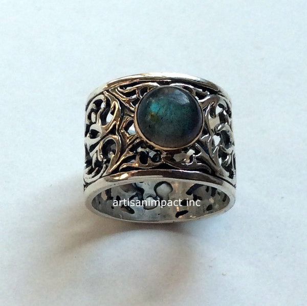 Labradorite ring, Gypsy ring, green ring, silver engagement ring, wide ring, boho jewelry, silver gold ring, stone ring - Let it go  R2057-1