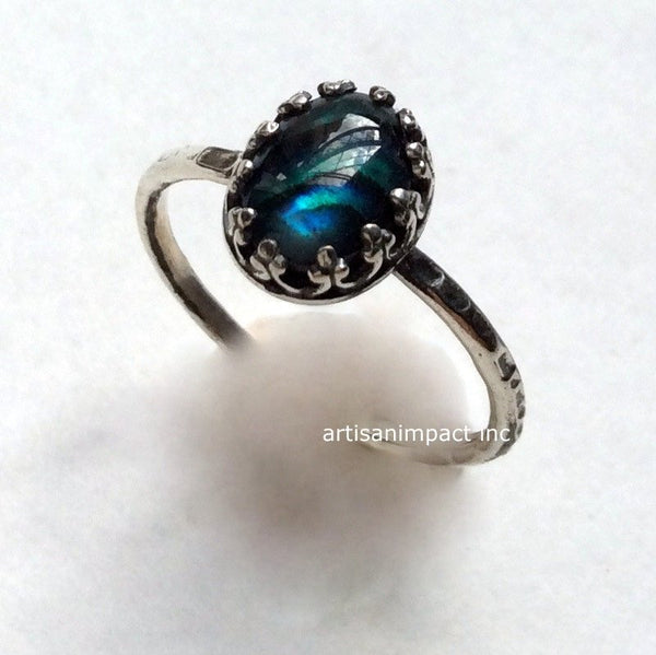 Blue shell engagement ring