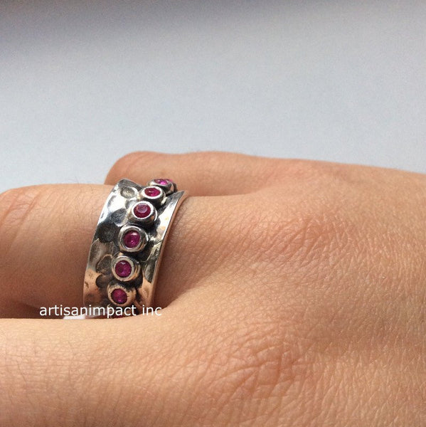 Infinity ring, Silver wedding ring, spinning ring, meditation ring, pink stone ring, boho ring, hippie ring, gypsy - Cocktail party R2074