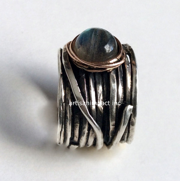 Bohemian ring, gypsy ring, wire ring, Labradorite ring, wide silver ring, hippie ring, twotone band, statement ring - Visions of you R2119