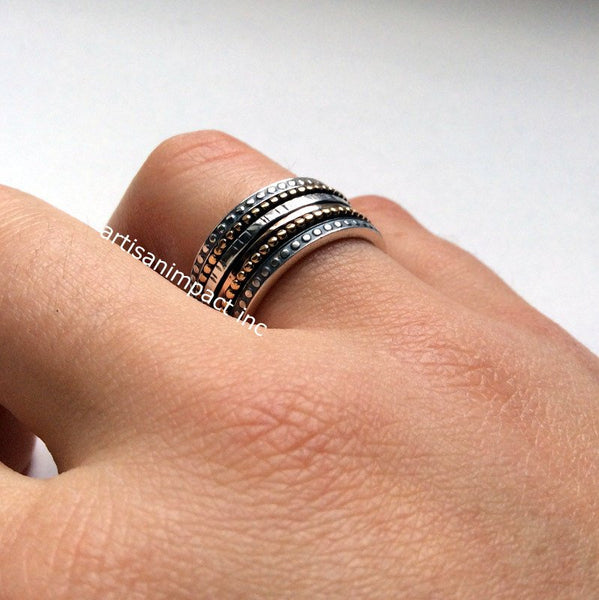 Silver wedding band, meditation ring, boho silver ring, stacking bands, spinner ring, wedding band,  unisex ring, unisex band - Jazz. R2095