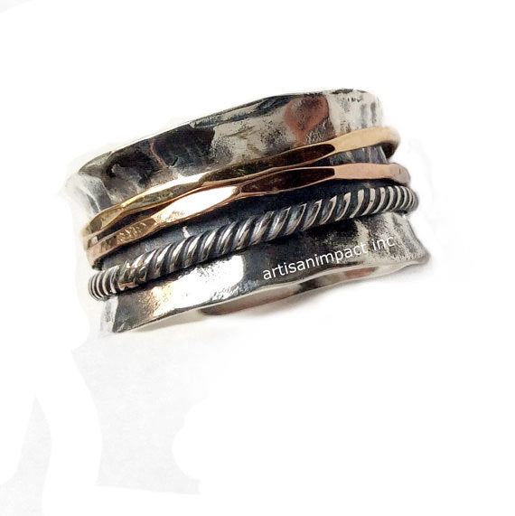 Rustic silver band, Hammered silver band, stacking bands, silver gold ring, spinners ring, wedding band, twotone ring - Glory of love R2099