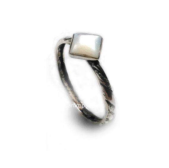 Shell ring, sterling silver ring, thin ring, textured ring, gemstone ring, stacking ring, simple ring, square shell ring. - Angel R2121