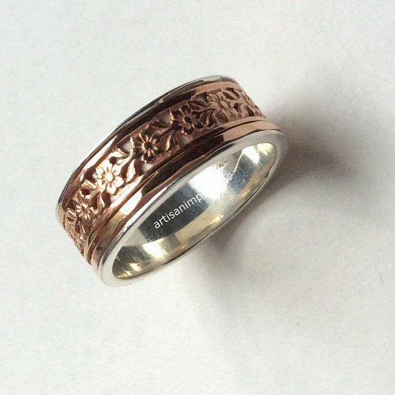 Wedding band, silver gold ring, Twotone Ring, Statement Ring, Silver spinner Ring, Woodland Ring, Floral Ring, gold ring - A field day R2097
