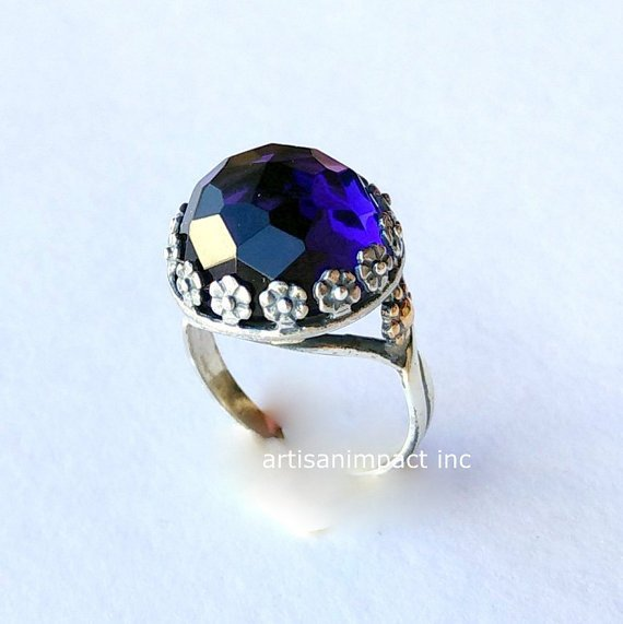 Sterling silver ring, Amethyst ring, gemstone ring, twotones ring, high stone ring, flowers ring, gold silver ring - Imagine us R2108