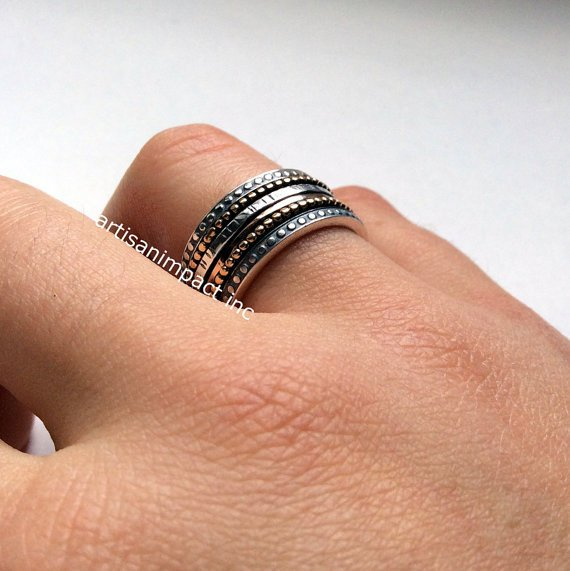 Infinity  band, eternity ring, gypsy ring, Silver wedding band, meditation ring, bohemian ring, stacking rings, anxiety ring- Jazz. R2095