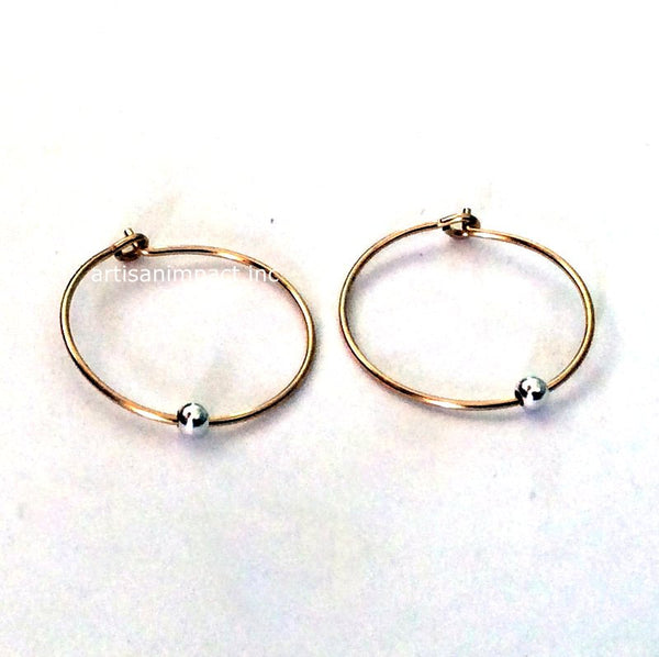 Yellow gold hoops, silver bead hoop earrings, dainty earrings, simple loops, gold silver earring, 14K gold filled earrings - Freedom E8006