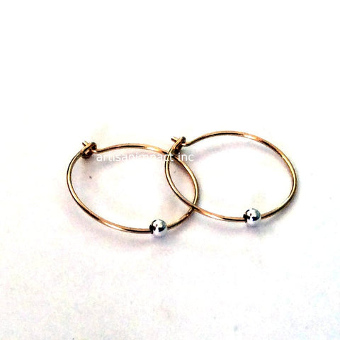 Gold Filled Earrings, Yellow Gold Hoops, silver bead Hoop Earrings, fine Earrings, Gold silver Earring, casual earrings -Freedom E8006