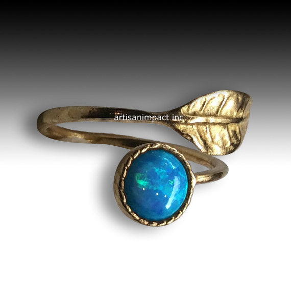 Leaf ring, Gemstone ring, stack ring, delicate ring, Thin ring, Golden brass ring, adjustable ring, opal ring - Gone with the wind RK2062-1