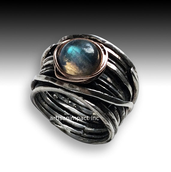 Silver engagement ring, Labradorite ring, wide band, two tones ring, gold nest ring, wire wrap ring, oxidised silver - Visions of you R2119