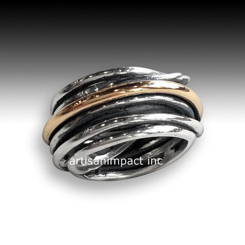 Silver wedding band,  sterling silver ring, unisex band, silver gold ring, wire wrap ring, boho band, two tone ring - Mood swings R2065