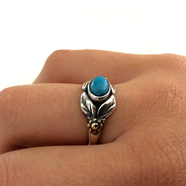 Gold Silver Ring, turquoise ring, gemstone ring, birthstone ring, Two tones ring, leaves ring, botanical ring - Wonder R2185