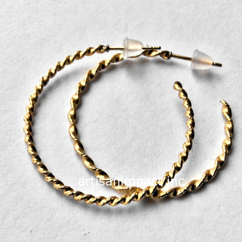 Gold hoop Earrings, rope Earrings, Dangle Earrings, large hoop Earrings, simple Earrings, Gold Filled Earrings - In love again E90088