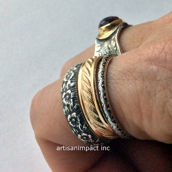 silver gold stacking rings