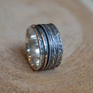 Bohemian filigree silver gold spinner ring