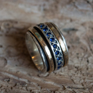 Sapphires ring, Meditation Ring, silver gold band, boho ring, stacking rings, wide silver band, eternity wedding band - Endlessly R1075L-5