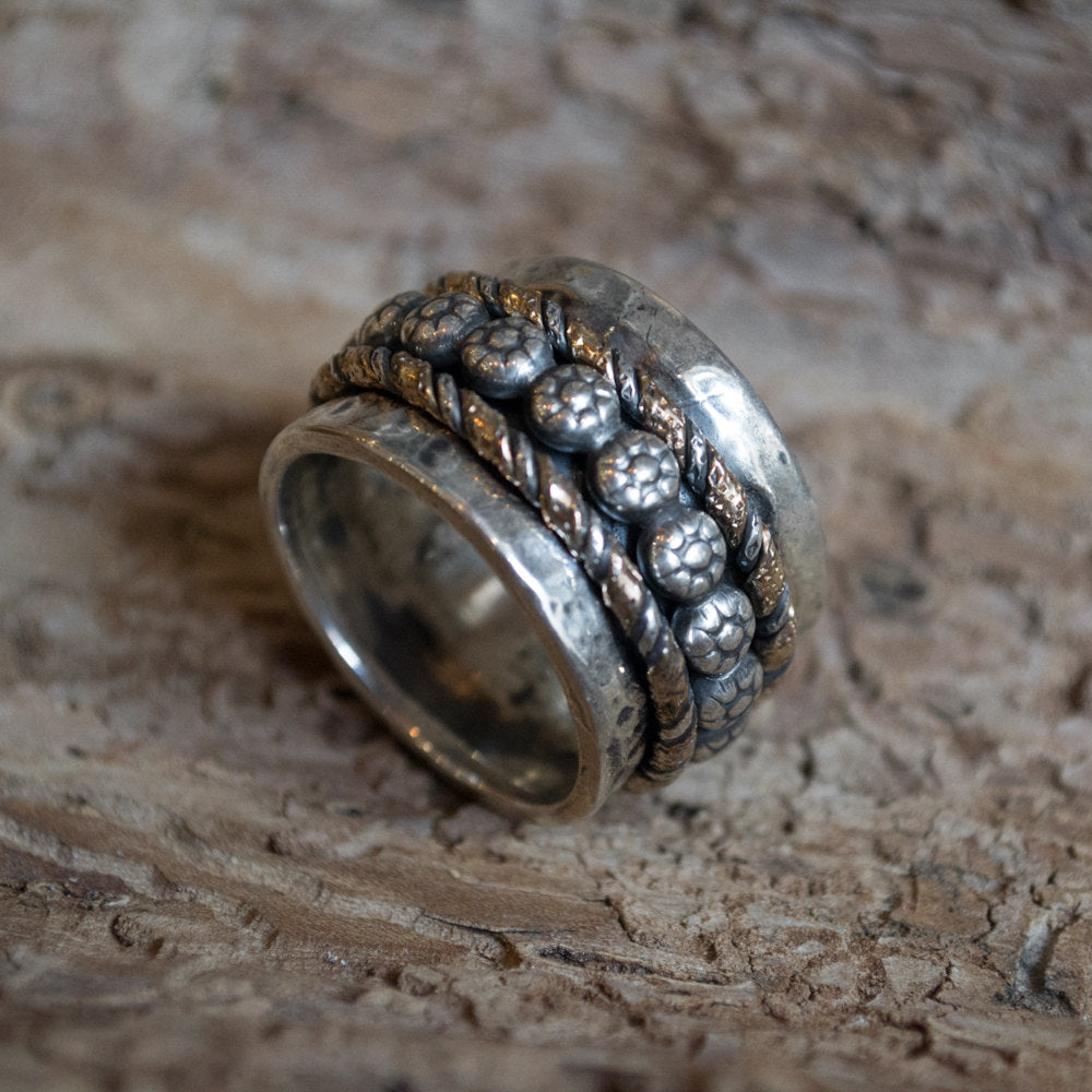 Spinner ring, Floral ring, silver ring, silver band, wedding band, boho ring, rope ring, silver gold ring, twotone - A woman in love R2199