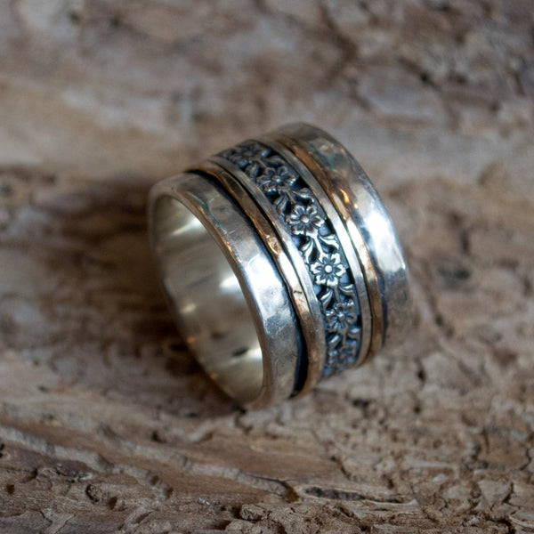 Wide Wedding band, Silver gold band, spinner ring, meditation ring, bohemian ring,gypsy ring, boho chic ring, unique - Calming effect R2071