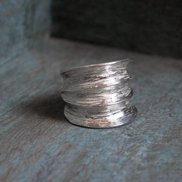 Wide silver ring, bohemian silver band, statement ring, rustic ring, hammered ring, boho ring, large ring, gypsy jewelry - Adventure R1483