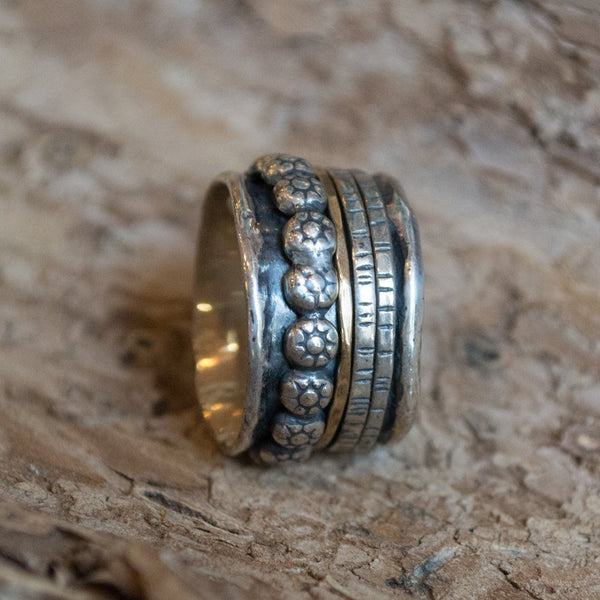Boho ring, silver ring, spinner ring, wide ring,  silver gold ring, gypsy ring, nature ring, twotone, hippie ring - Lonely warrior R1075K