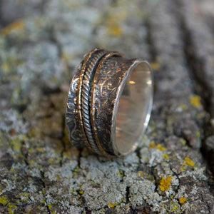 Silver band, silver gold ring, unisex band, wide wedding band, spinners band, meditation ring, gypsy ring, rope ring, vine - We love R2078
