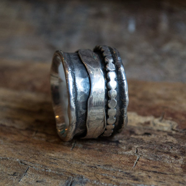 Wedding ring, Meditation ring, spinner ring, mens silver band, stacking ring, wedding band, silver gold band - Blackness Of The Night R1075C