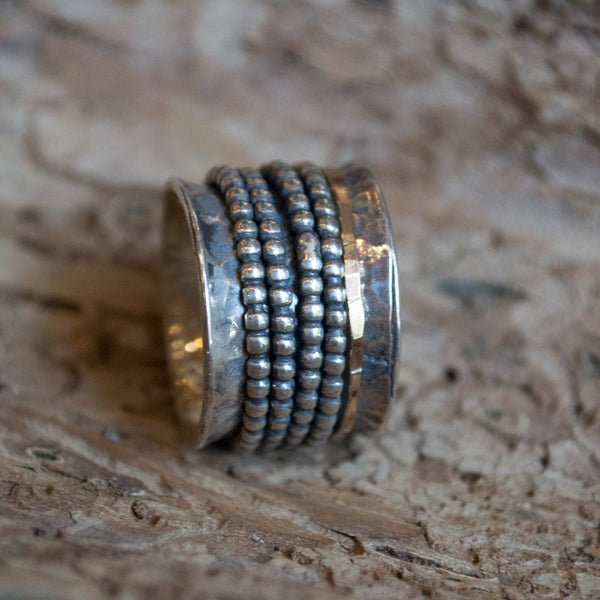 Silver Gold ring, boho ring, wide band, stacking ring, Tibetan spinner ring, meditation ring, twotone band, unisex ring - Two for life R2183