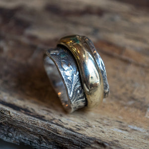 Wedding ring, Spinner Ring, Sterling Silver Gold Ring, Yellow Gold ring, vine band, leaves ring, botanical jewelry -  Endless love R2138