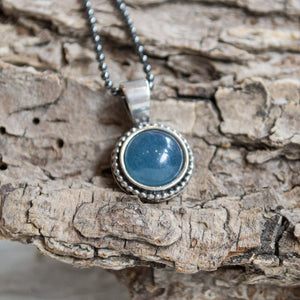 Aquamarine pendant, Bohemian silver necklace