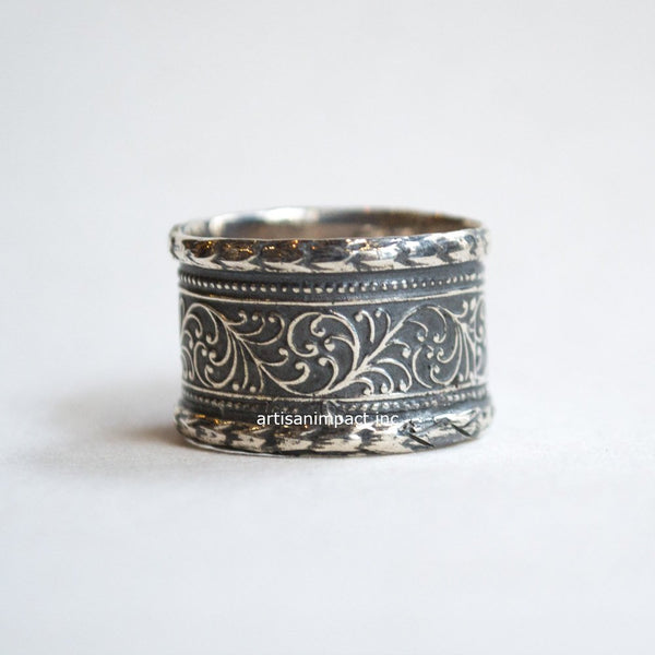 Silver wedding band, vine band, unisex ring, unique wedding band, men and women's ring, gypsy ring, wide band, boho ring - He Won't Go R2328