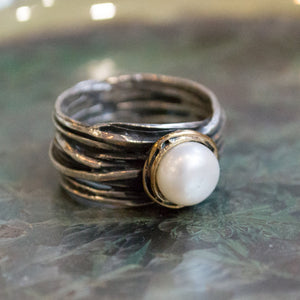 Engagement Pearl Ring, bohemian Ring, Silver Rose Gold Ring, unique Engagement Ring, gypsy ring, simple - Imagine life in peace R1504BG1