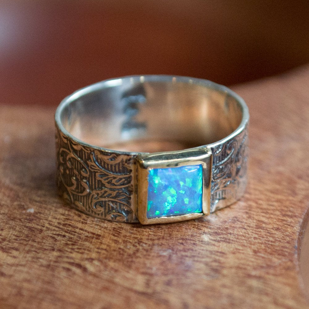 Opal Ring, Twotone Statement Ring, Cocktail Ring, Woodland Ring, Silver Ring, boho Ring, gypsy ring, square opal Ring - Dream weaver R2271