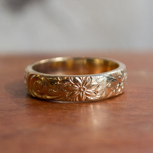 Yellow gold ring, unisex wedding band, gold filled band, boho ring, bohemian ring, matching bands set, floral band - With this ring 2 R2277